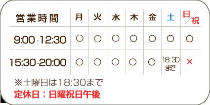 めいほく接骨院瑞穂区桜山院の受付時間